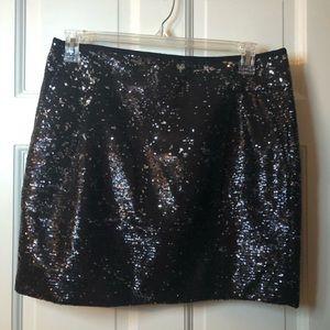NWOT Black / Silver Sequin Mini Skirt JCrew Sz 12